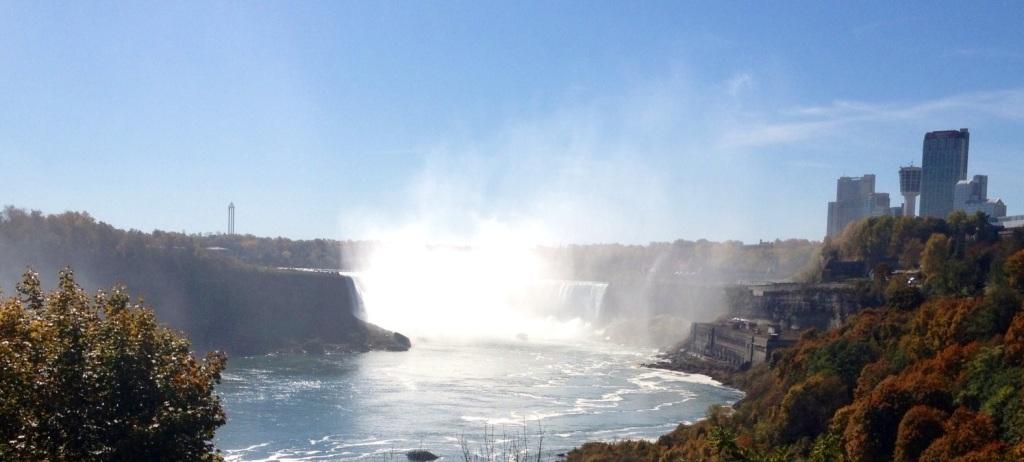 Looking at Horseshoe Falls from down the Niagara River