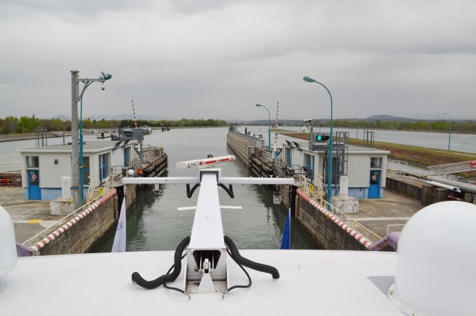 Navigating the Locks on the Rhone River, France