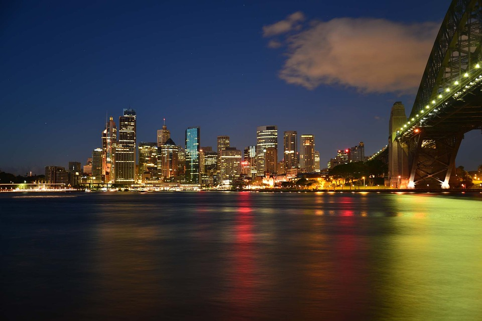 The skyline at night in Australia