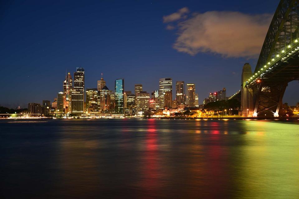 The skyline at night in Australia
