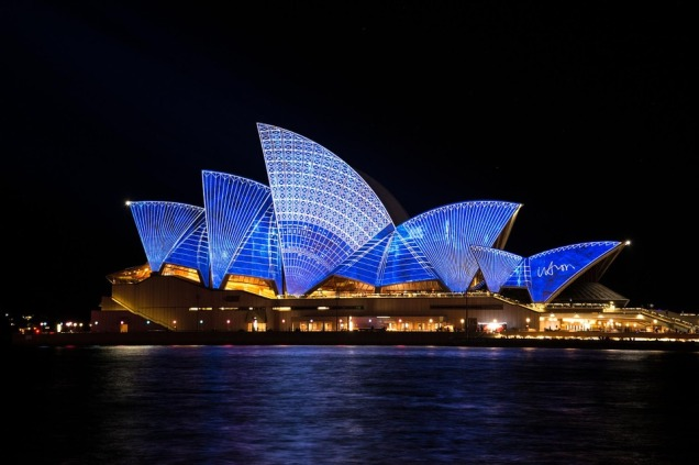 A view of Sydney Harbour and the Sydney Opera House at night