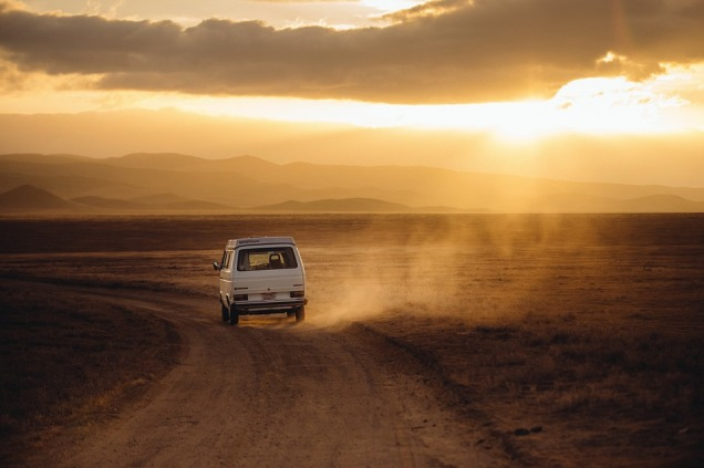 driving off into the sunset in Australia