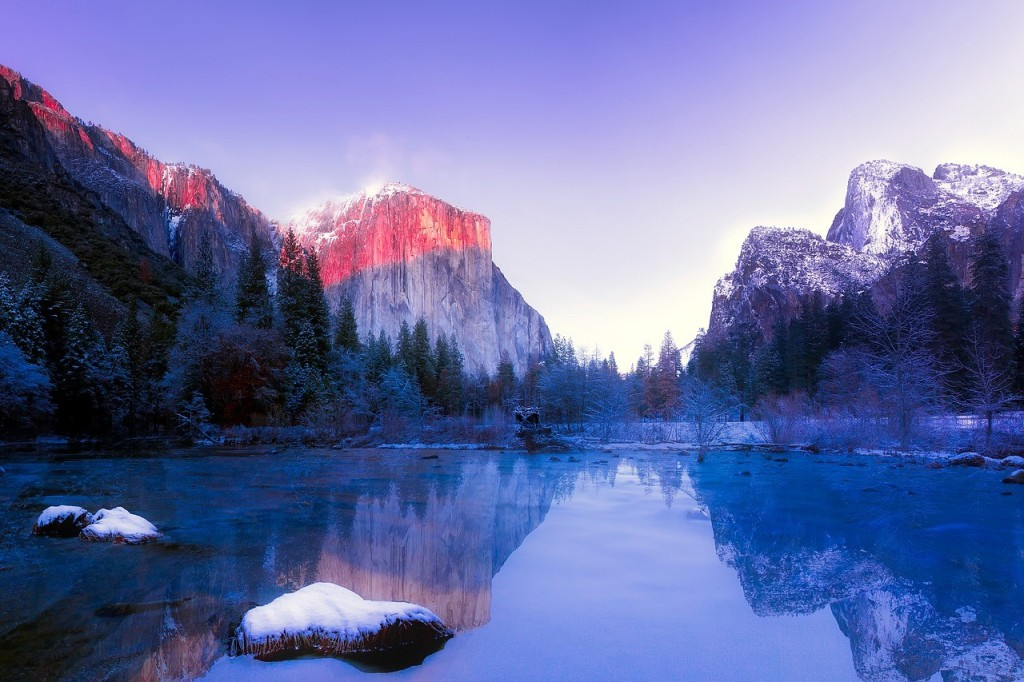 Yosemite in winter as one of the best places in California for a winter getaway