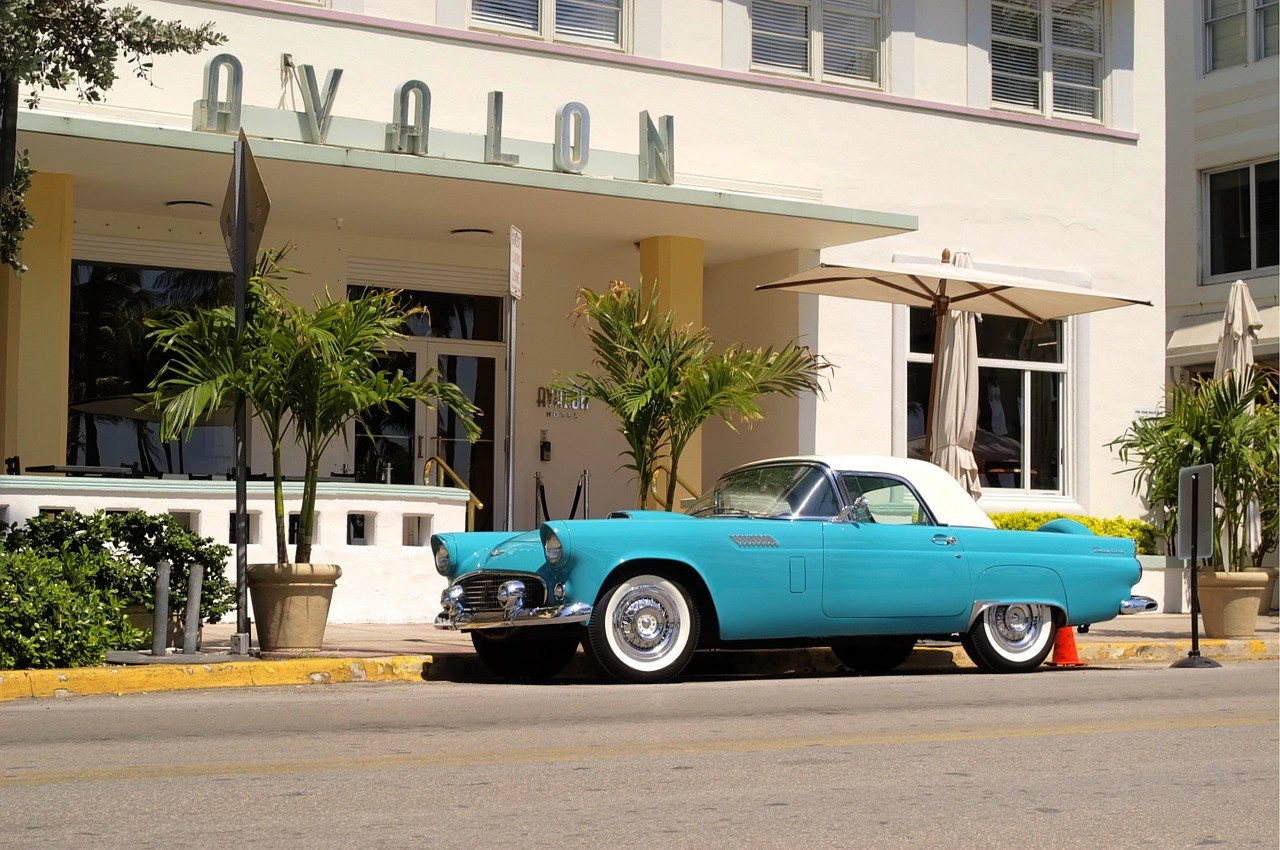 a retro car in Miami