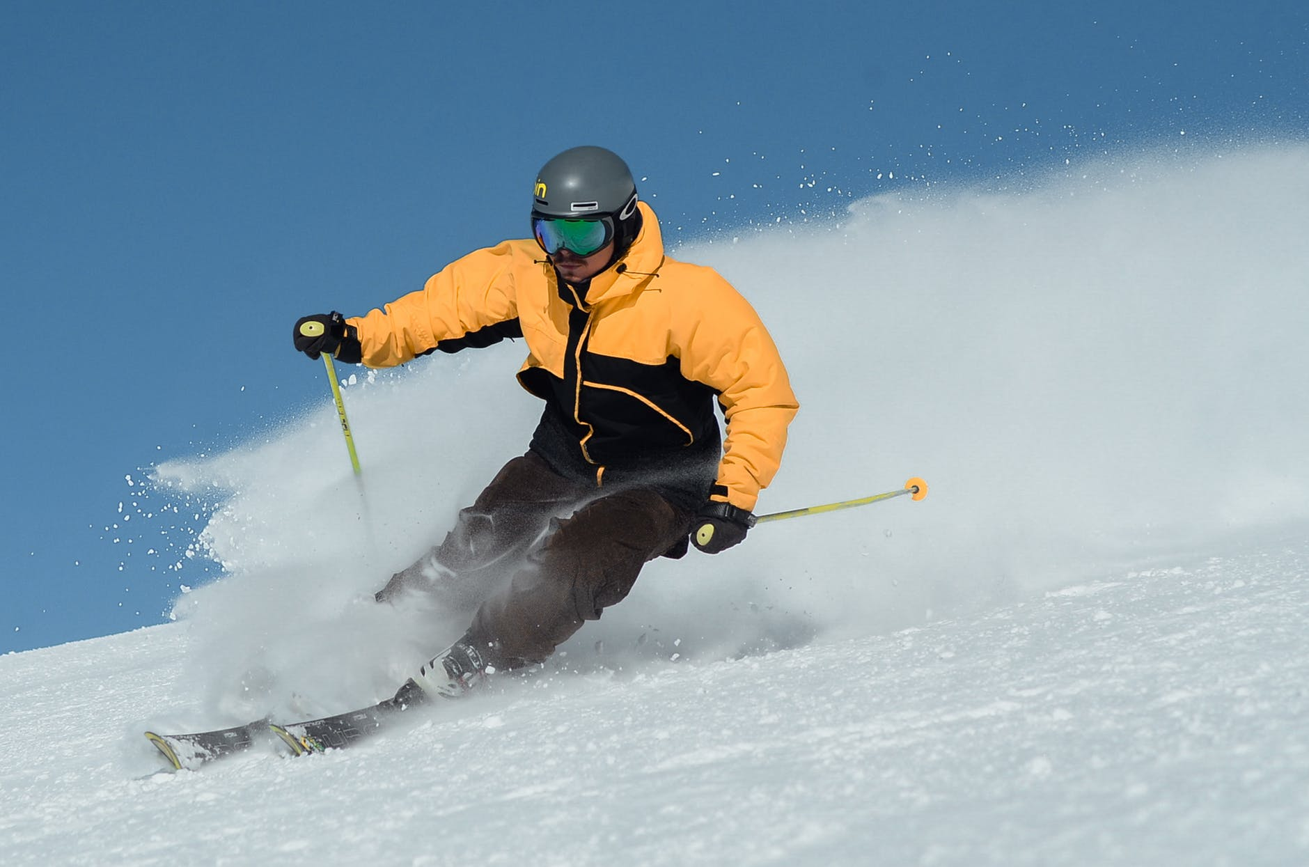 A skier starting a turn