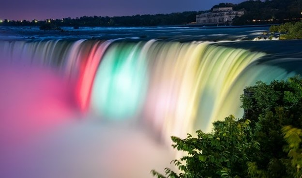 colorful waterfalls and a tree