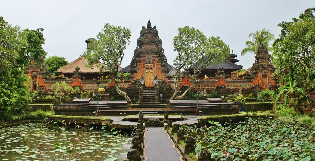 An Indonesian temple surrounded by greenery