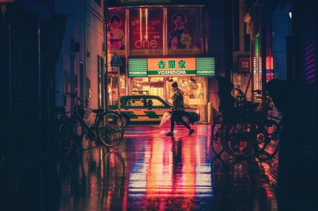 A girl walking on the street in Japan