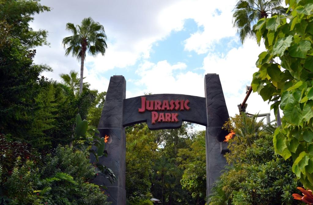 The entrance gates to Jurassic Park